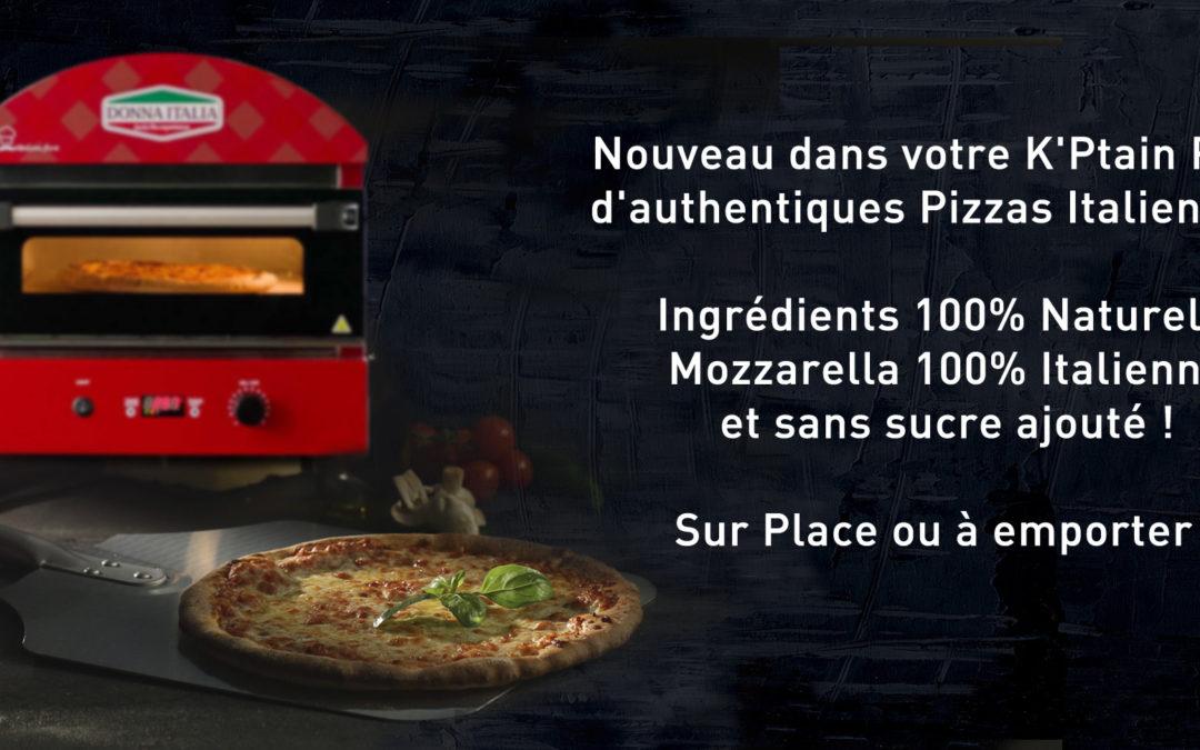 D'authentiques Pizzas Italiennes, sur place ou à emporter !